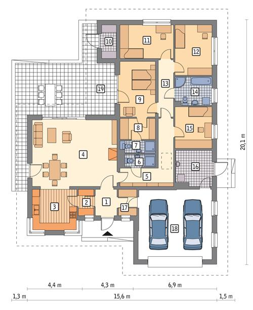 Rzut parteru POW. 186,5 m²