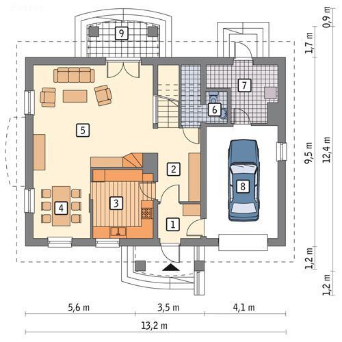Rzut parteru POW. 98,8 m²