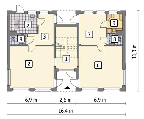 Rzut parteru: wariant 1 POW. 132,8 m²