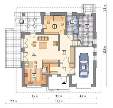 RZUT PARTERU POW. 75,5 m²